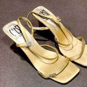 A satin gold square heel gorgeous dainty shoes
